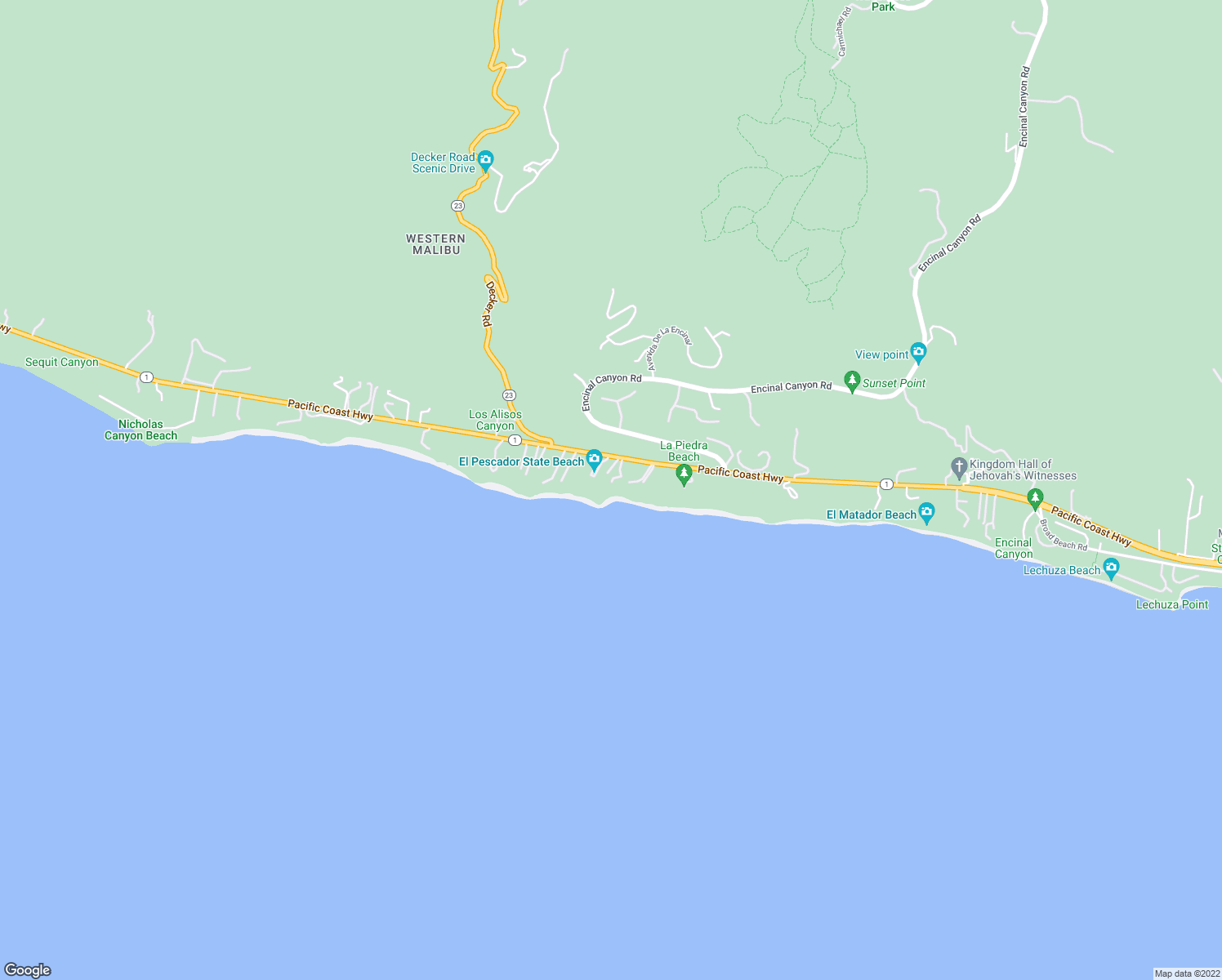 map of restaurants, bars, coffee shops, grocery stores, and more near 32852 Pacific Coast Hwy in Malibu