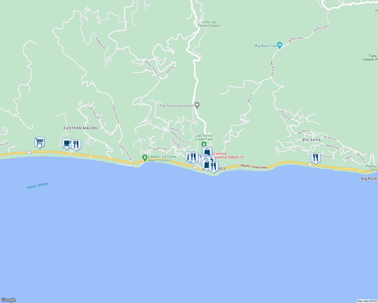 map of restaurants, bars, coffee shops, grocery stores, and more near 3885 Rambla Orienta Street in Malibu