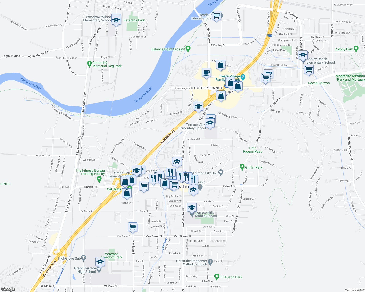 map of restaurants, bars, coffee shops, grocery stores, and more near 11767-11771 Mt Vernon Ave in Grand Terrace