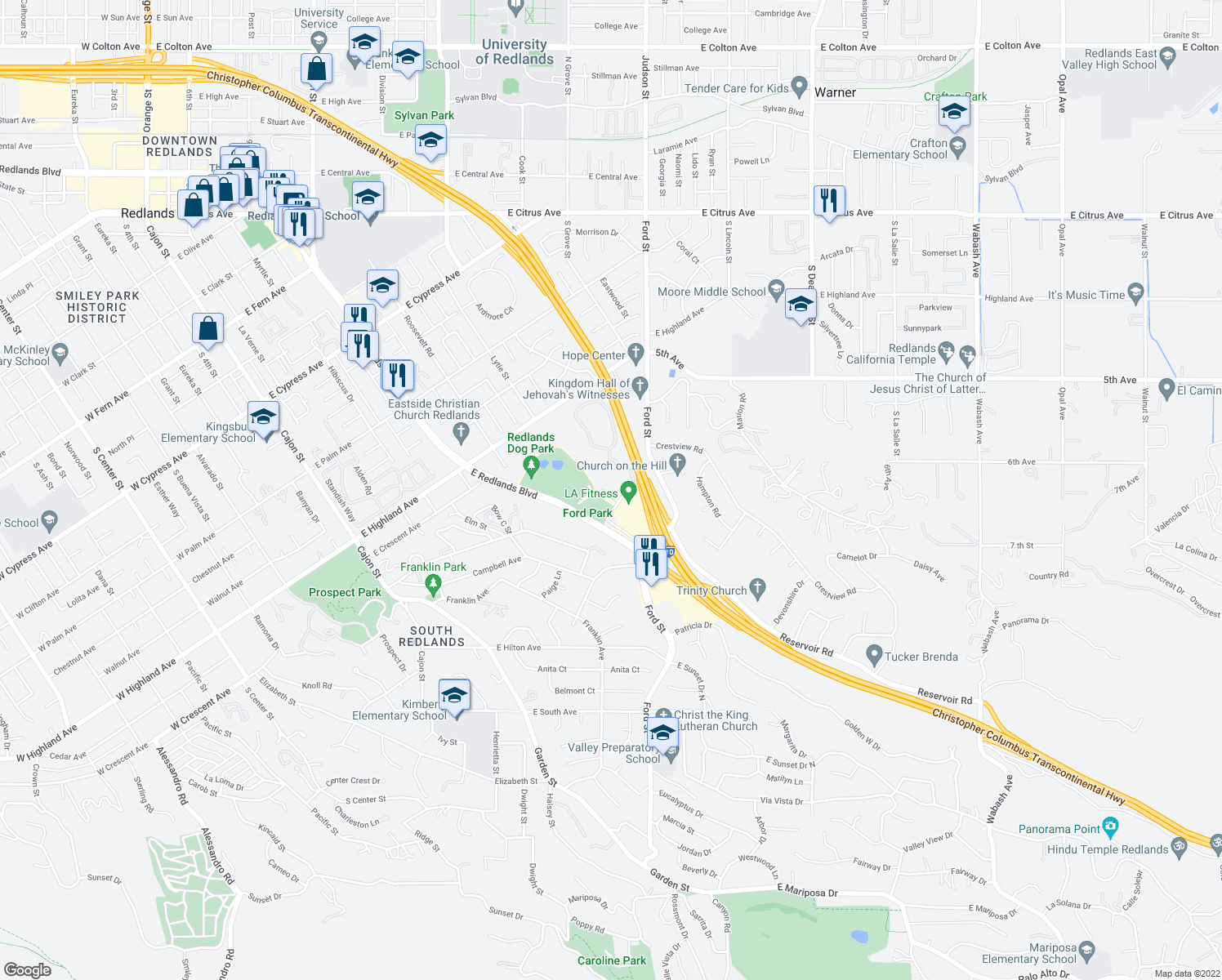 map of restaurants, bars, coffee shops, grocery stores, and more near 1440 Marshall St in Redlands