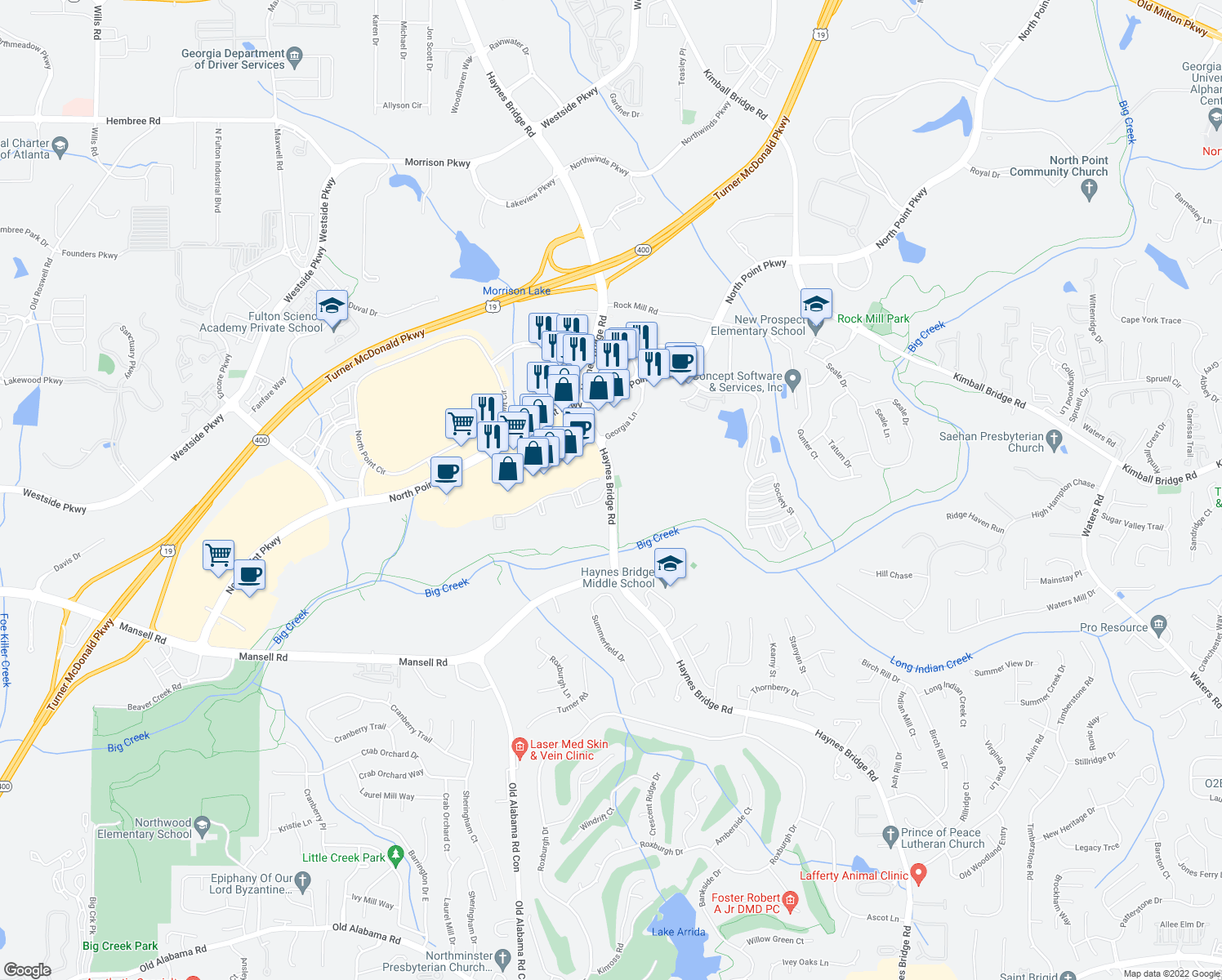 map of restaurants, bars, coffee shops, grocery stores, and more near 10865 Haynes Bridge Road in Alpharetta