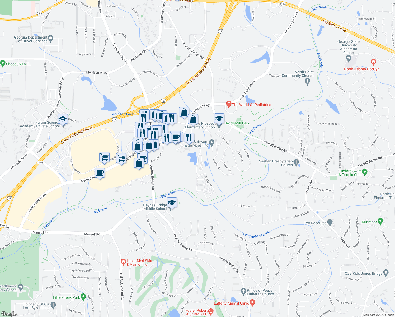map of restaurants, bars, coffee shops, grocery stores, and more near Mill Creek Avenue in Alpharetta