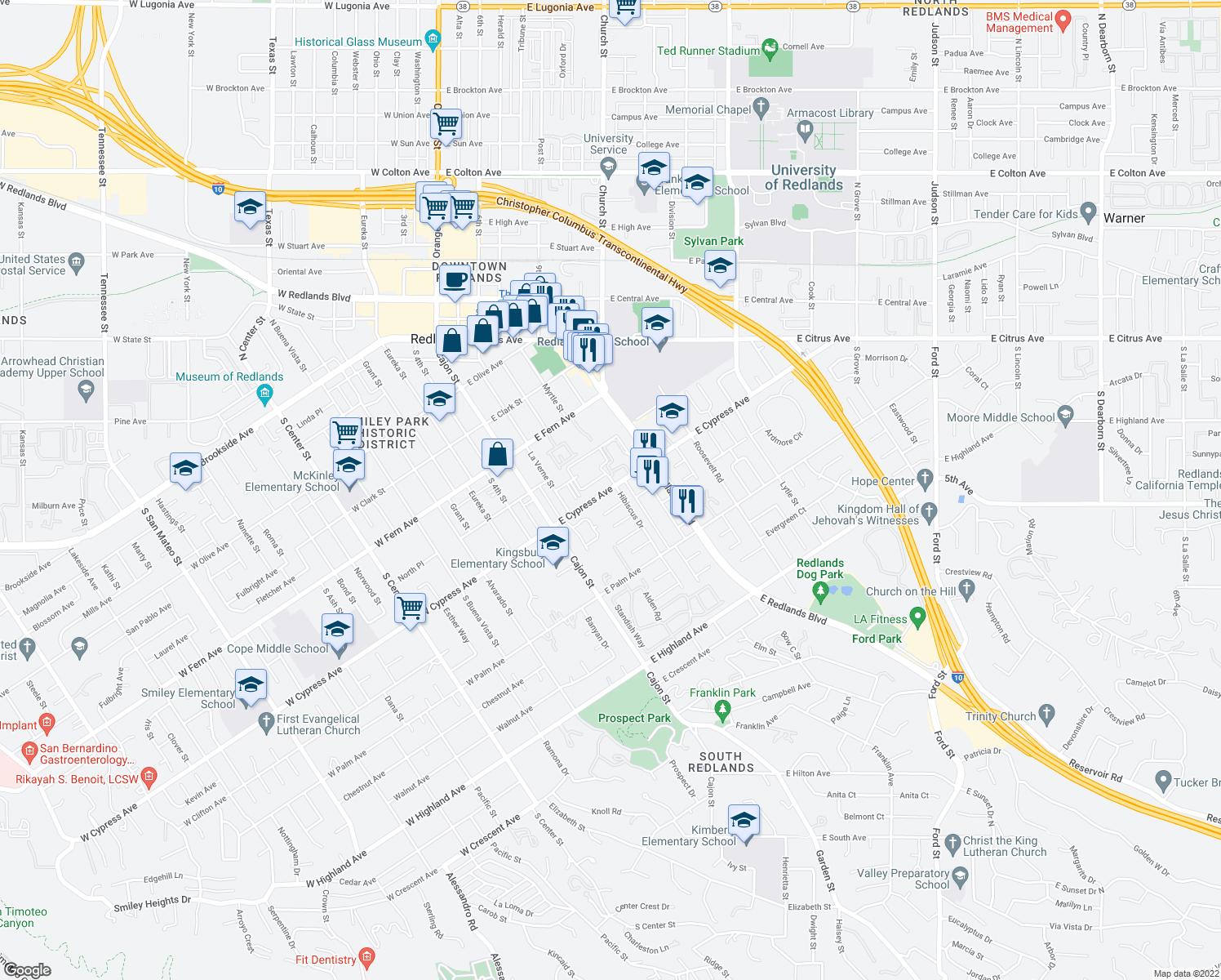 map of restaurants, bars, coffee shops, grocery stores, and more near 226 E Cypress Ave in Redlands