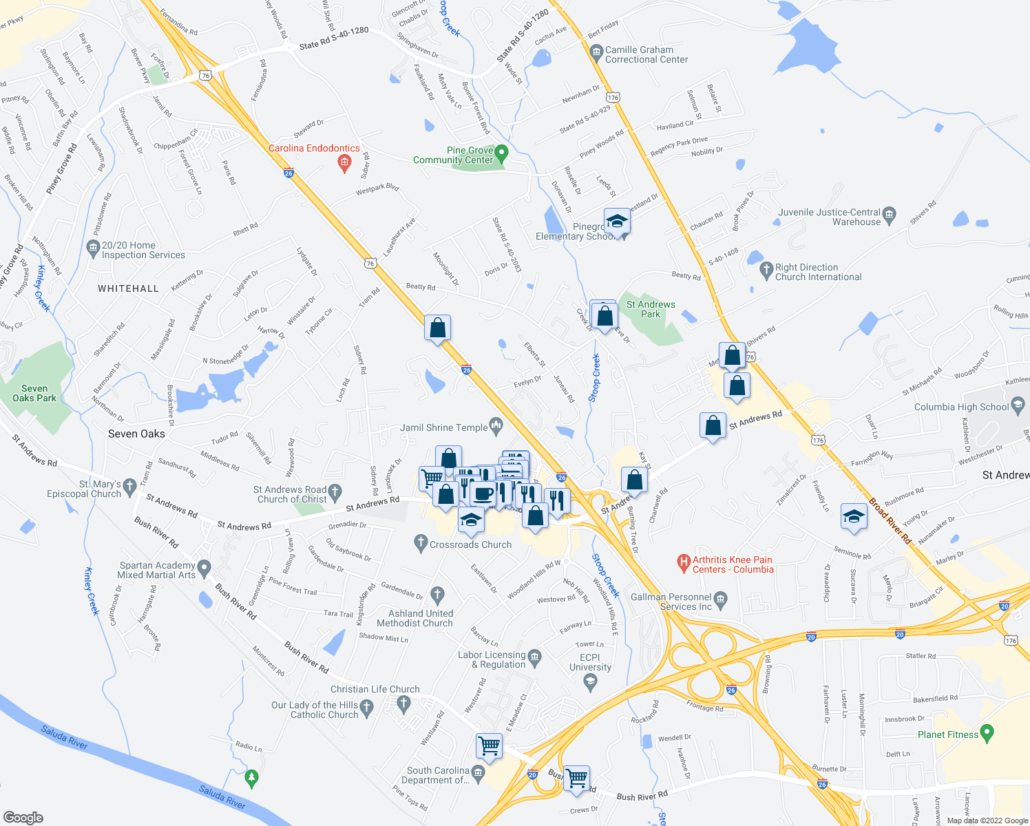map of restaurants, bars, coffee shops, grocery stores, and more near 2872-3260 Fernandina Road in Columbia