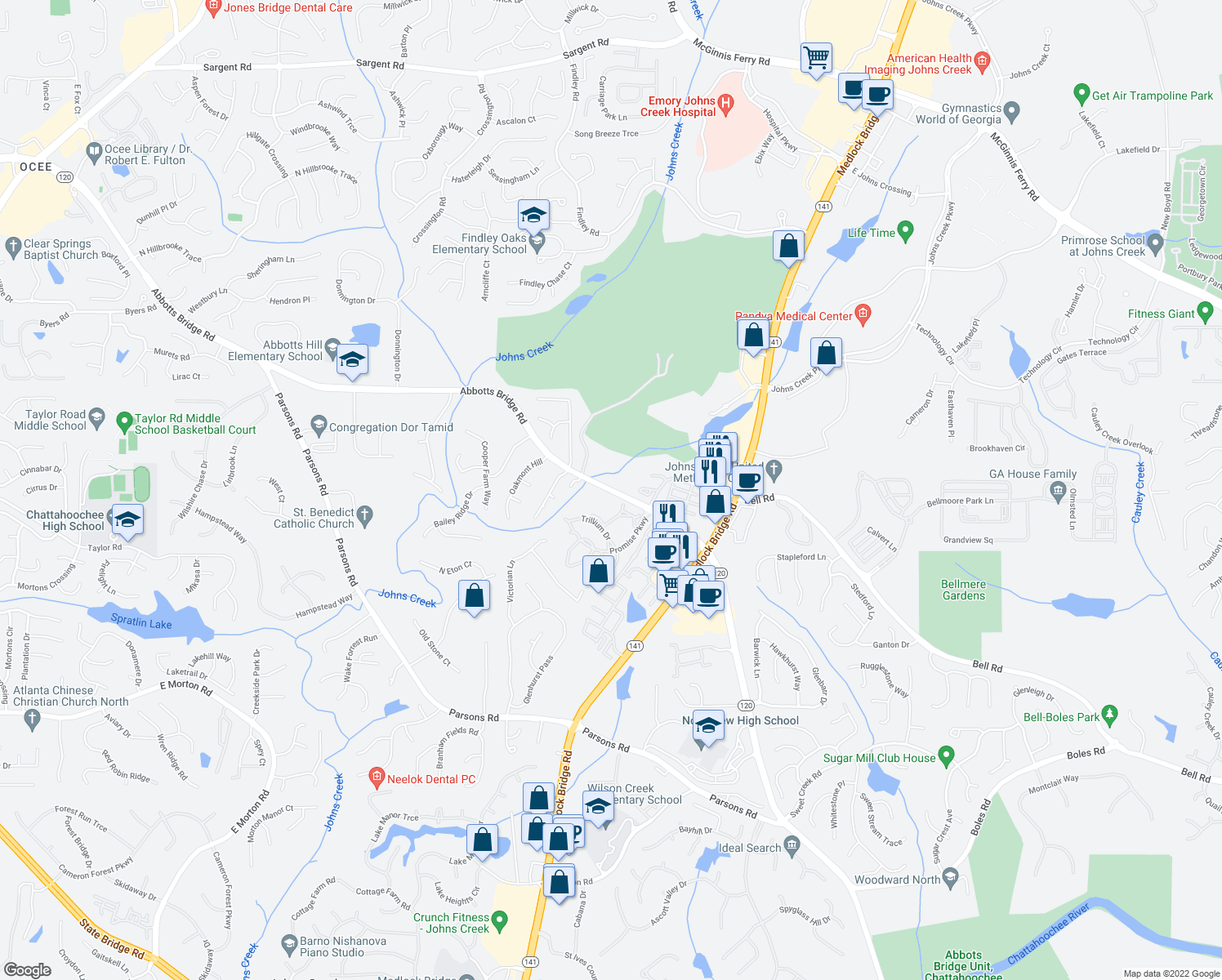 map of restaurants, bars, coffee shops, grocery stores, and more near 6061-6101 Abbotts Bridge Road in Johns Creek