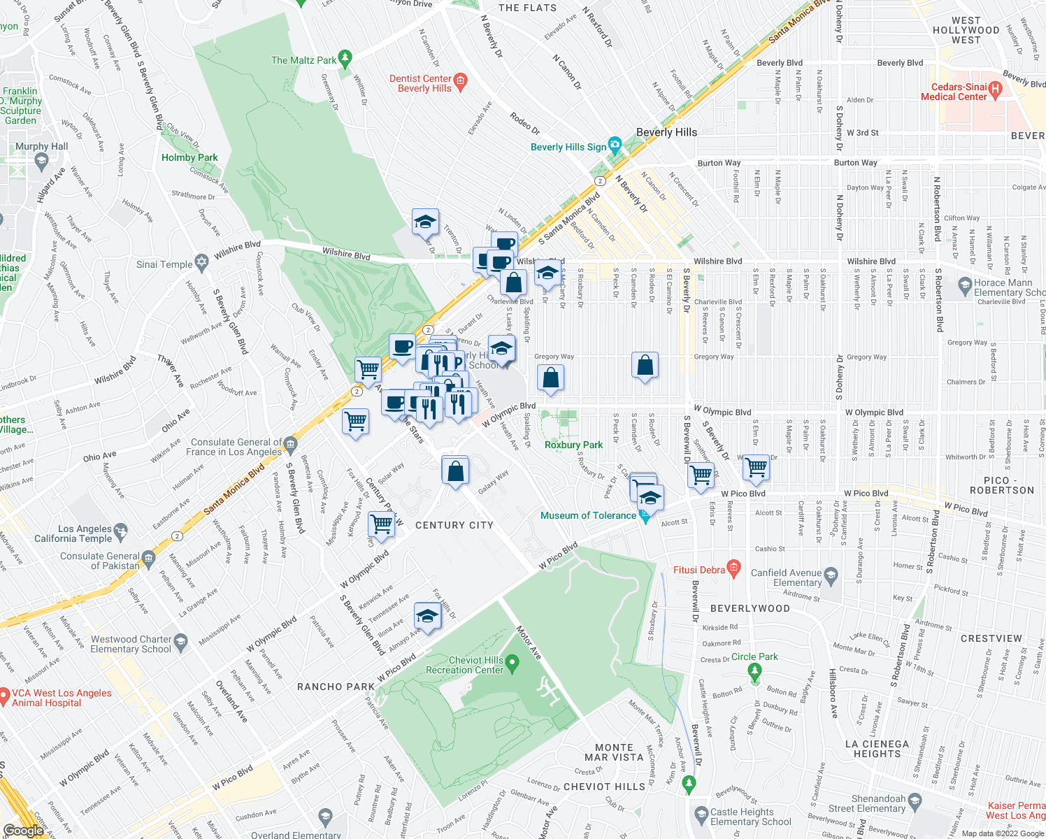 map of restaurants, bars, coffee shops, grocery stores, and more near 407 South Spalding Drive in Beverly Hills