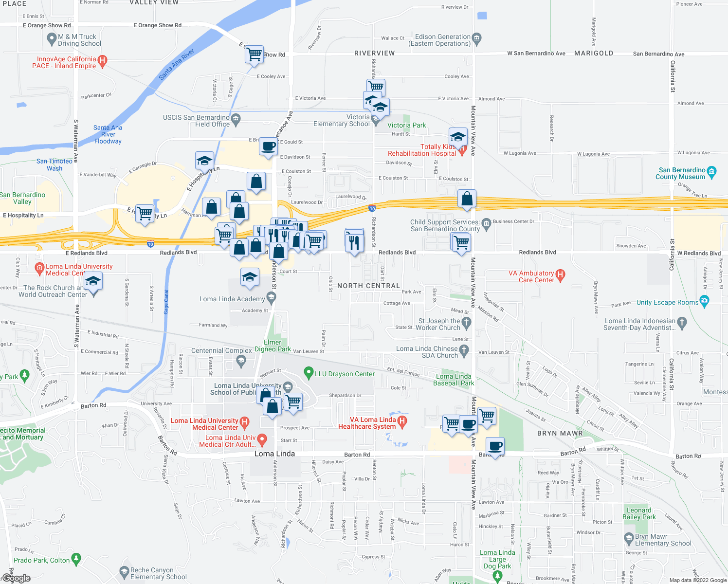 map of restaurants, bars, coffee shops, grocery stores, and more near 17-99 Willa Street in Loma Linda