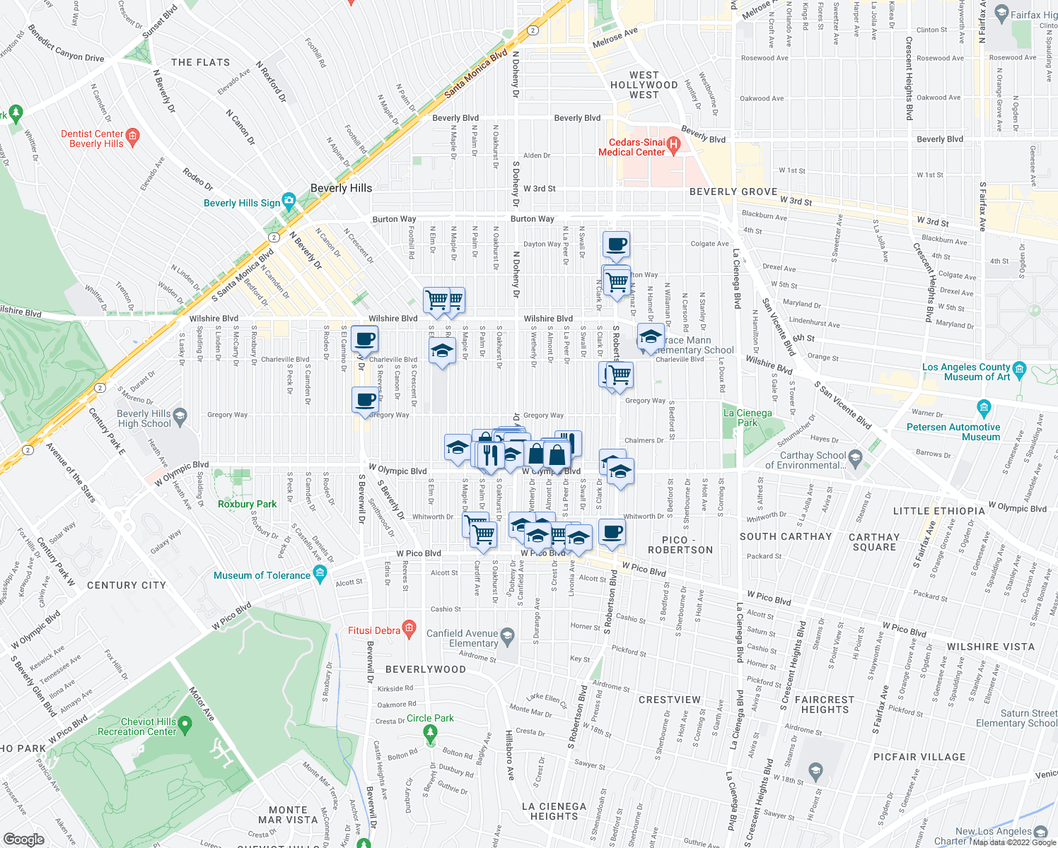 map of restaurants, bars, coffee shops, grocery stores, and more near 309 S Wetherly Dr in Beverly Hills