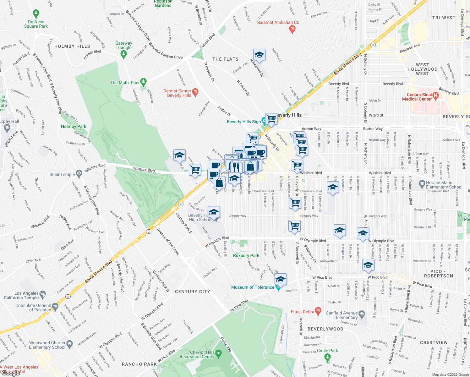 map of restaurants, bars, coffee shops, grocery stores, and more near 9719-9723 Charleville Boulevard in Beverly Hills