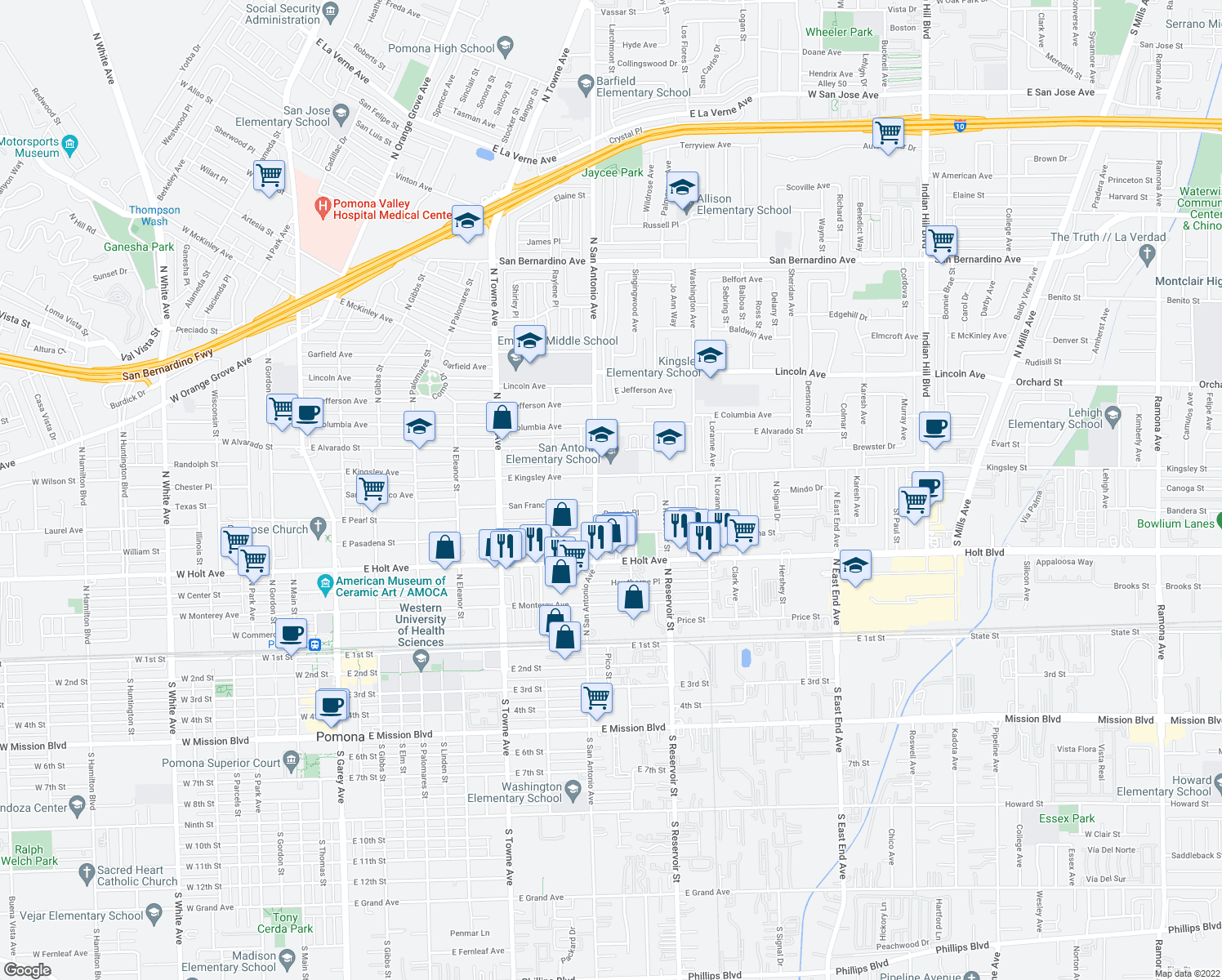 map of restaurants, bars, coffee shops, grocery stores, and more near 801-855 East Kingsley Avenue in Pomona