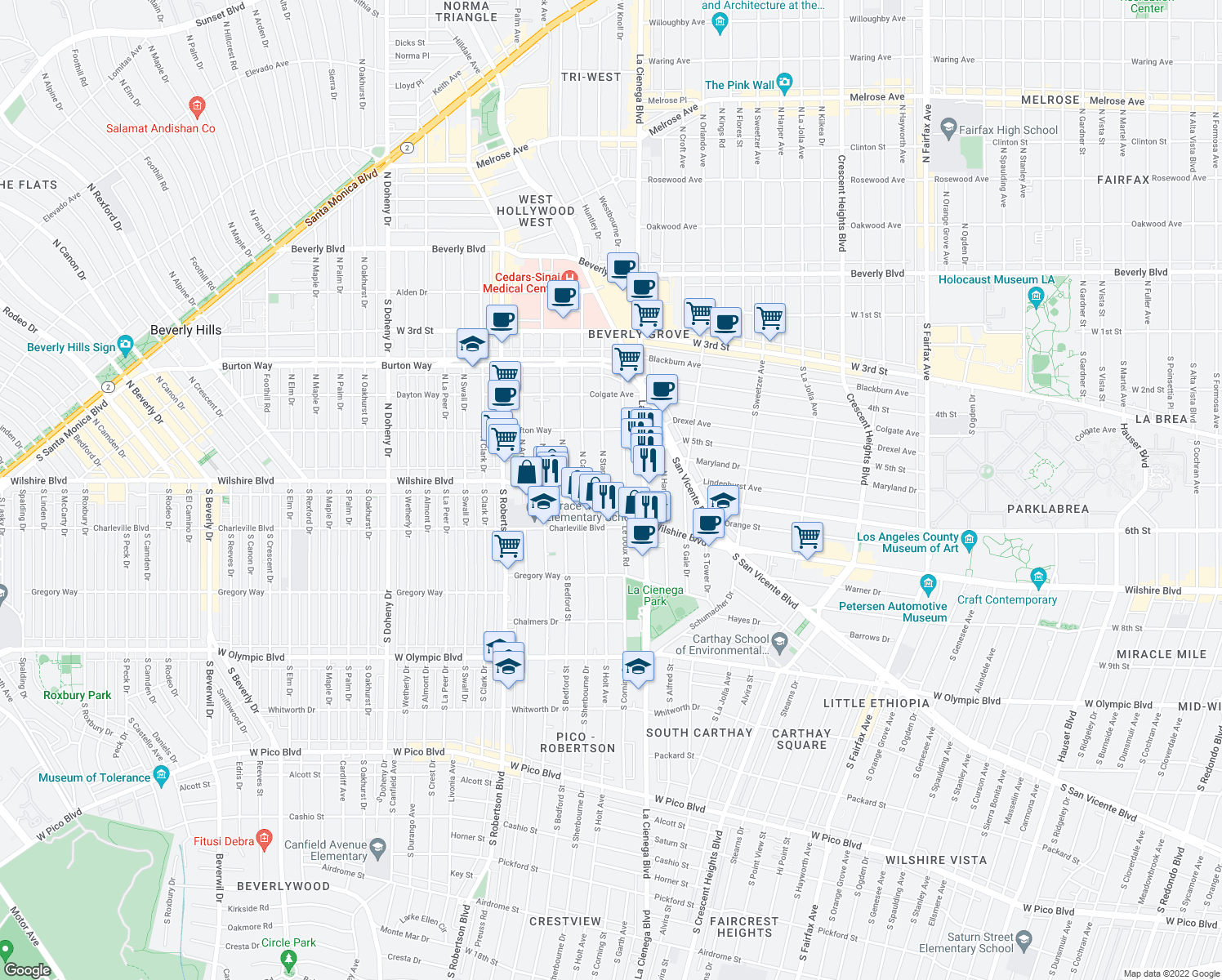 map of restaurants, bars, coffee shops, grocery stores, and more near 130 North Stanley Drive in Beverly Hills