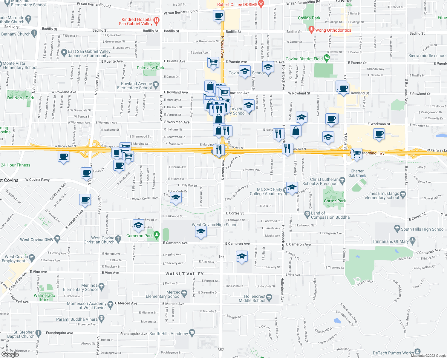 map of restaurants, bars, coffee shops, grocery stores, and more near S Azusa Ave & E Stuart Ave in West Covina