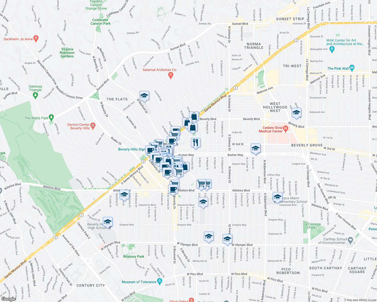 map of restaurants, bars, coffee shops, grocery stores, and more near 9321 Burton Way in Beverly Hills