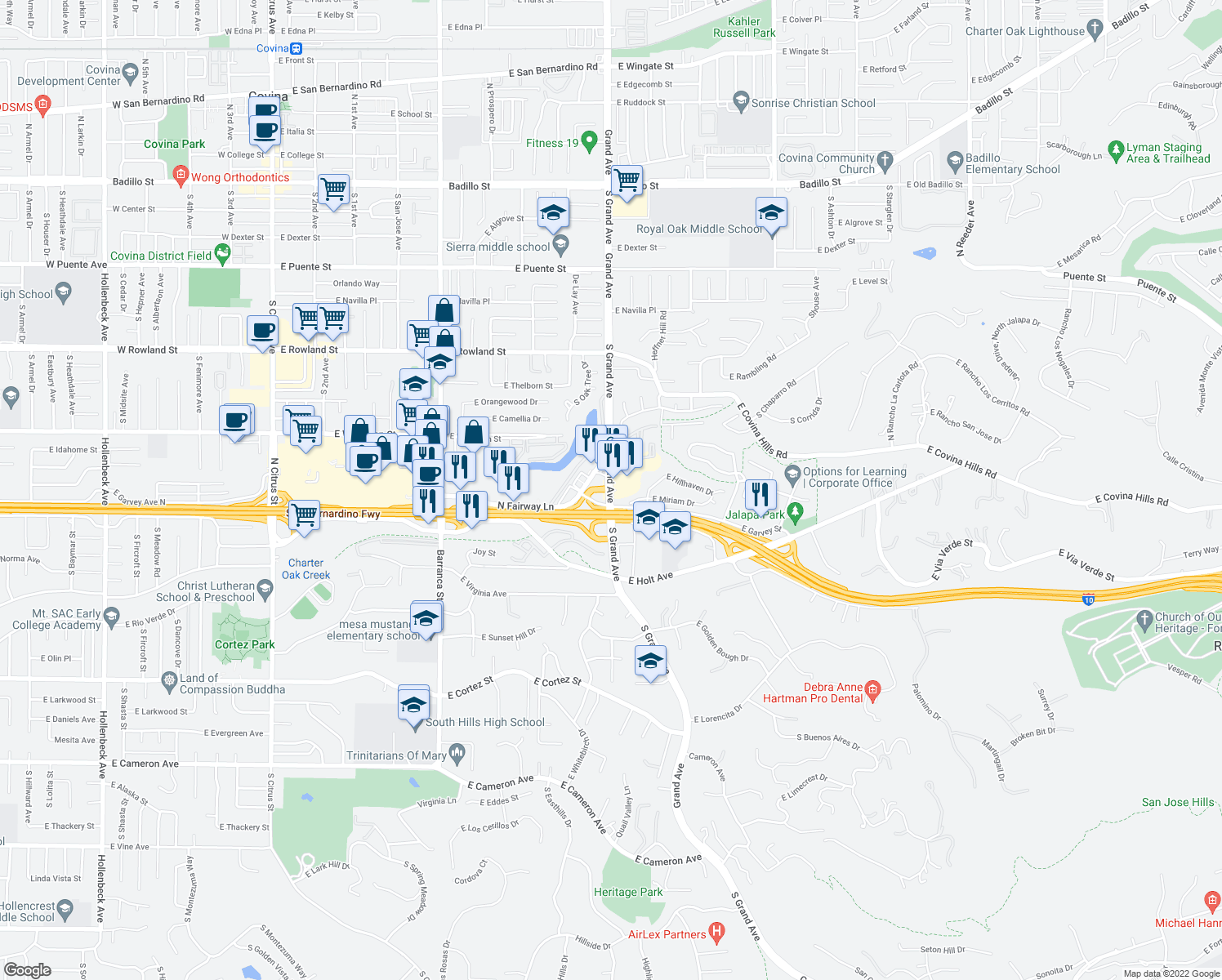 map of restaurants, bars, coffee shops, grocery stores, and more near 200 S Grand Ave in West Covina