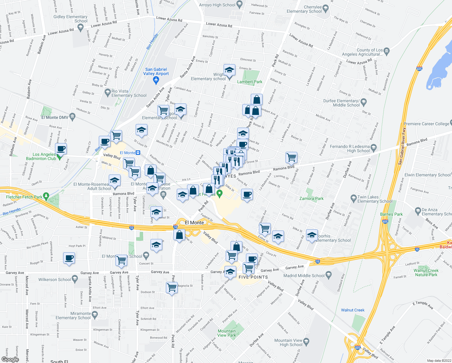 map of restaurants, bars, coffee shops, grocery stores, and more near 3734 North Peck Road in El Monte