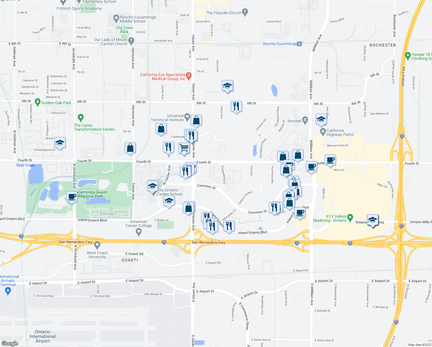map of restaurants, bars, coffee shops, grocery stores, and more near 955 N Duesenberg Dr in Ontario