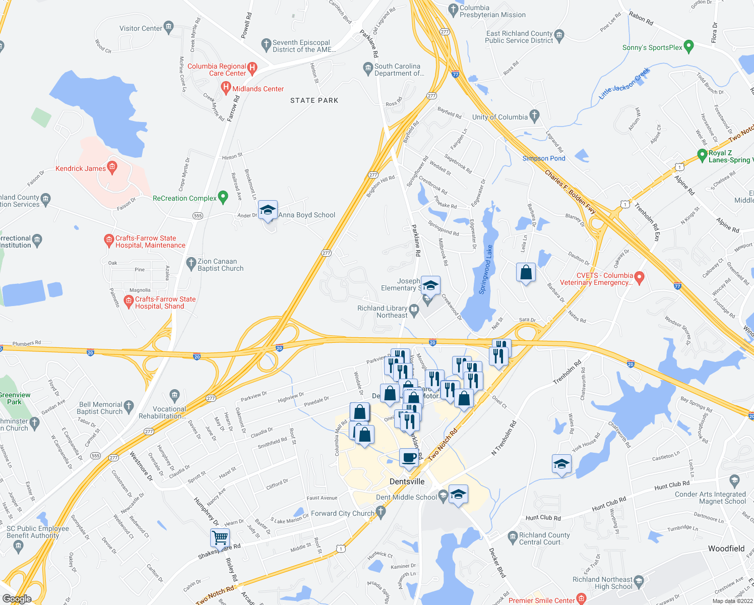 map of restaurants, bars, coffee shops, grocery stores, and more near 2400-2453 Willow Oak Dr in Columbia