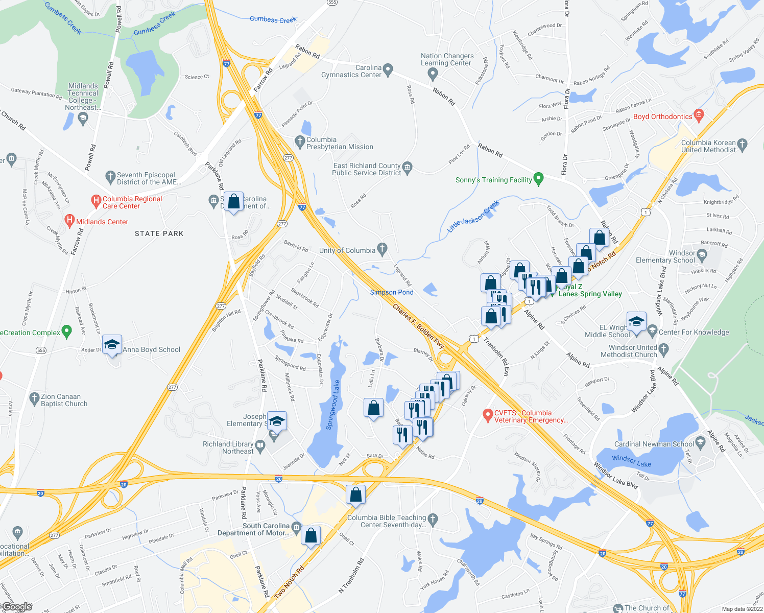 map of restaurants, bars, coffee shops, grocery stores, and more near 1803 Barbara Drive in Columbia