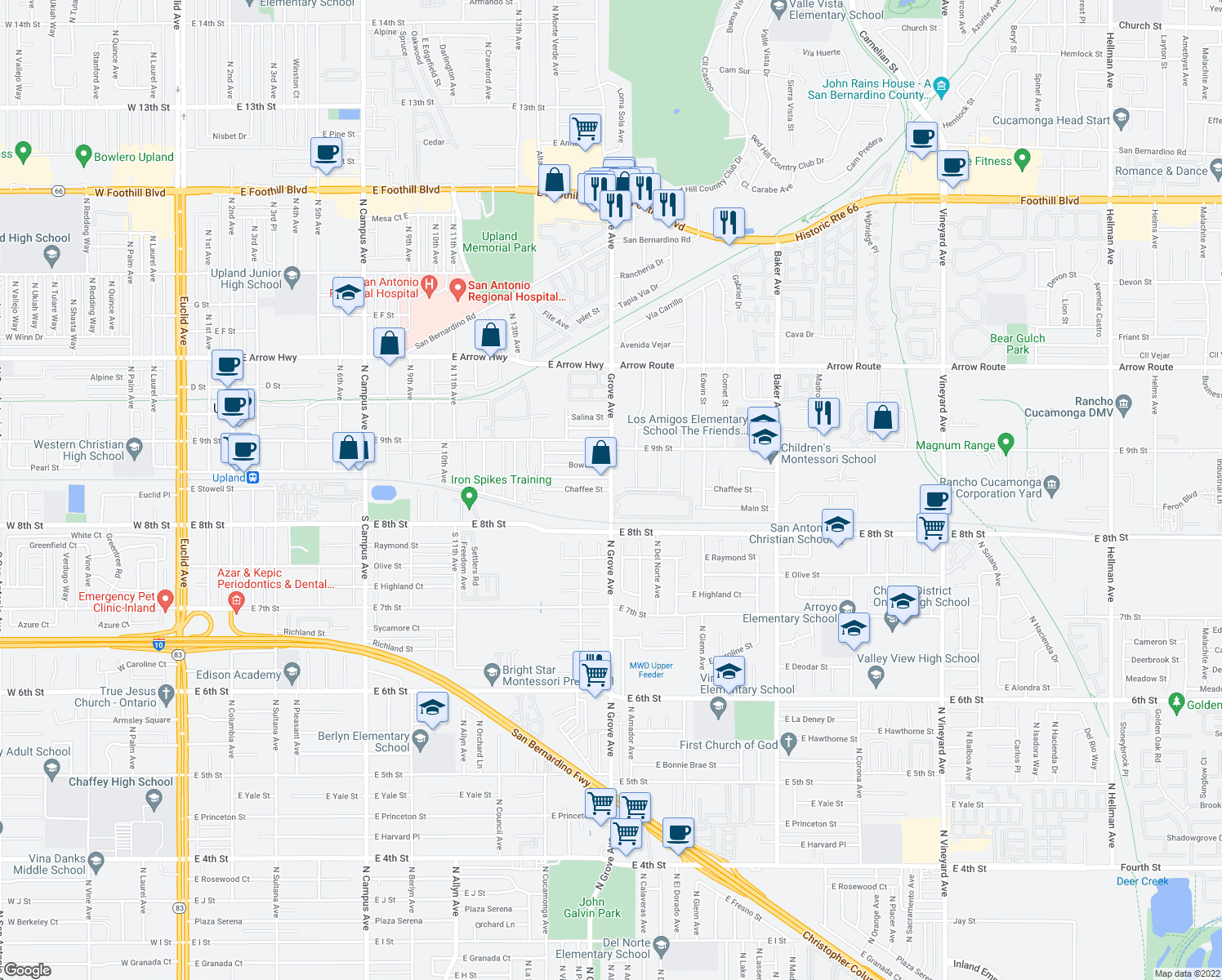 map of restaurants, bars, coffee shops, grocery stores, and more near Grove Ave & Chaffee St in Upland