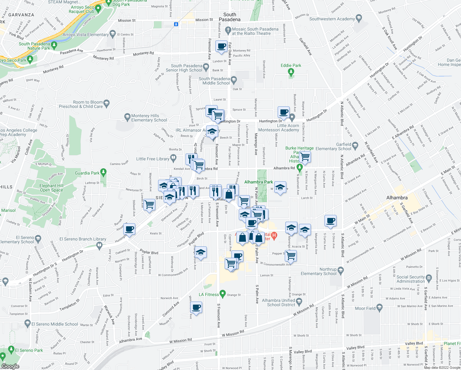 map of restaurants, bars, coffee shops, grocery stores, and more near 2415 West Grand Avenue in Alhambra