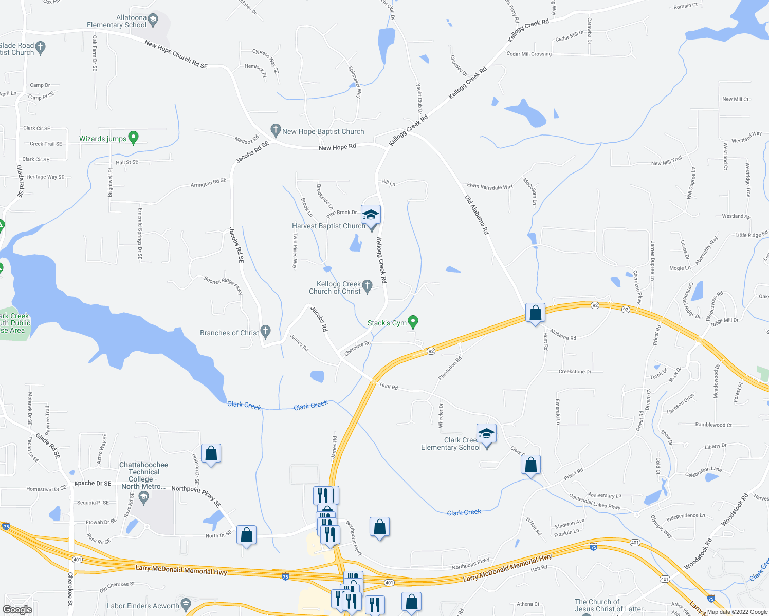 map of restaurants, bars, coffee shops, grocery stores, and more near 3510 Kellogg Creek Road in Acworth