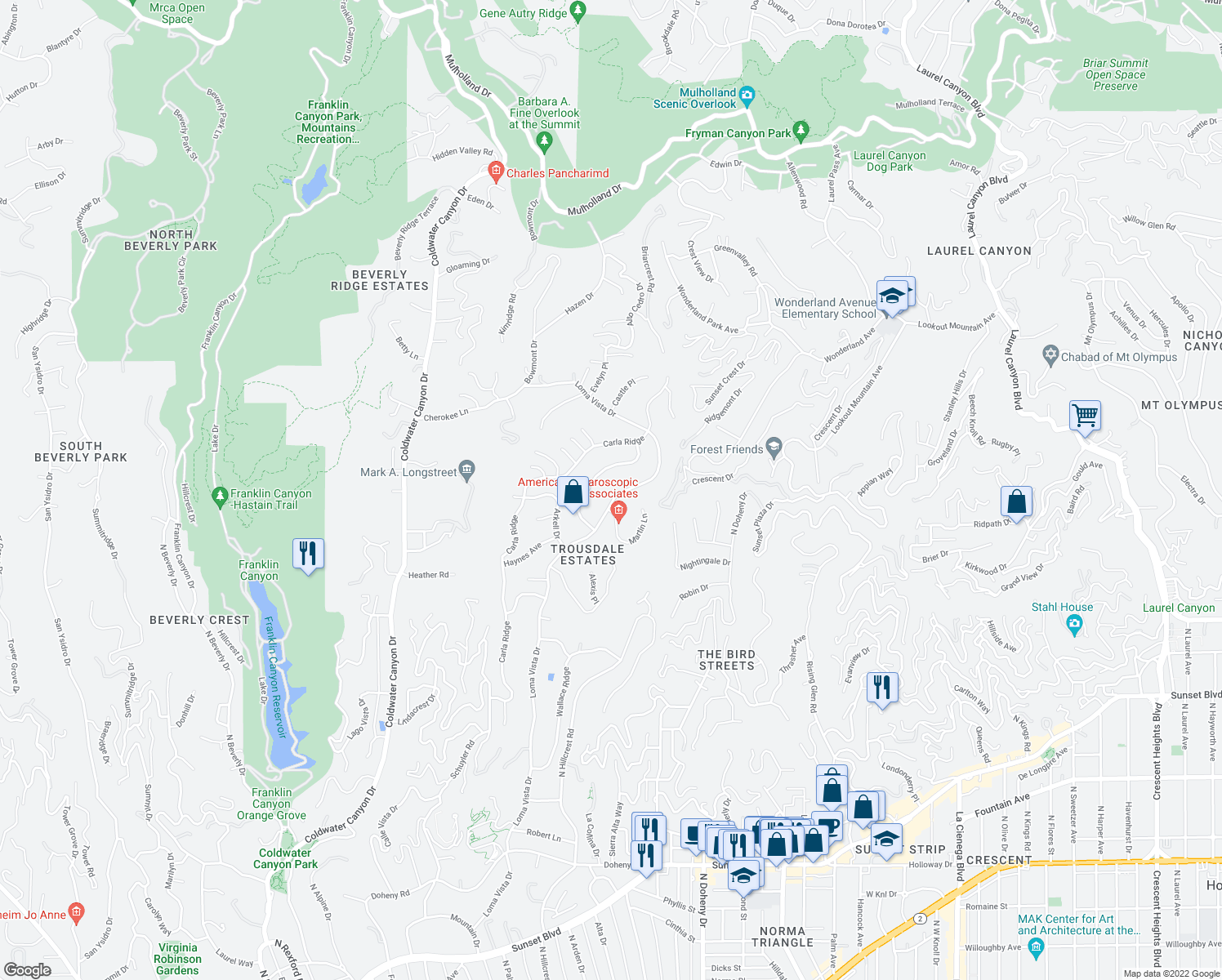 map of restaurants, bars, coffee shops, grocery stores, and more near 1811 Loma Vista Drive in Beverly Hills