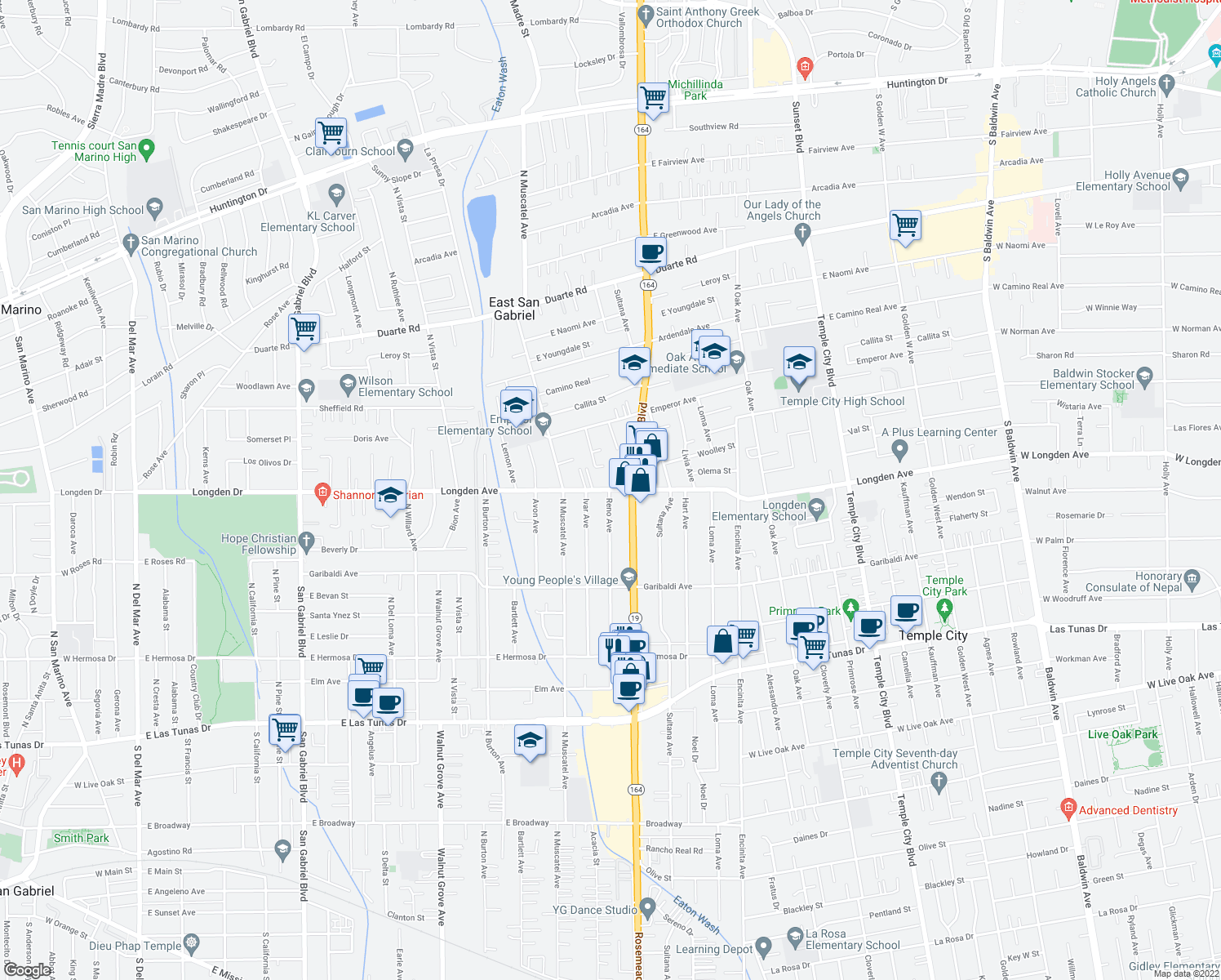 map of restaurants, bars, coffee shops, grocery stores, and more near 6258 Ivar Avenue in Temple City