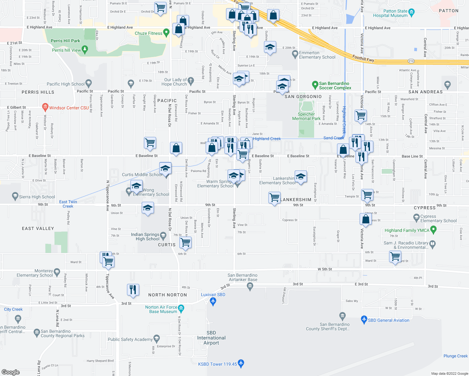 map of restaurants, bars, coffee shops, grocery stores, and more near 7405 Sterling Ave in Highland