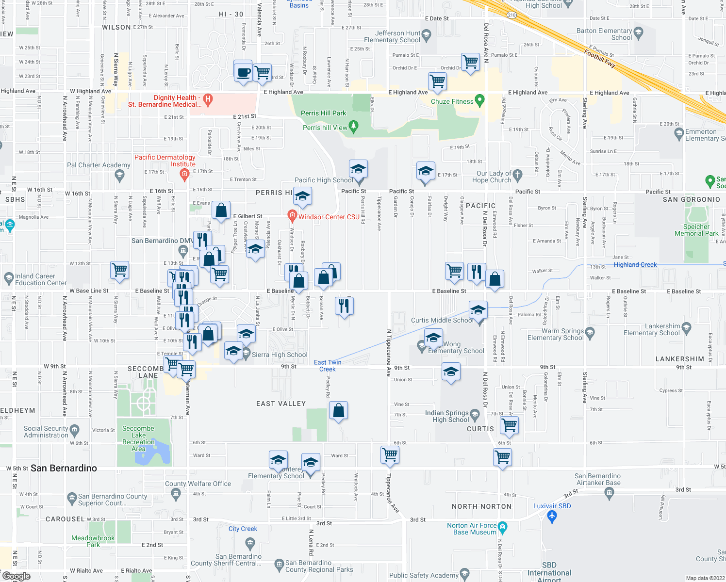 map of restaurants, bars, coffee shops, grocery stores, and more near East Baseline Street in San Bernardino