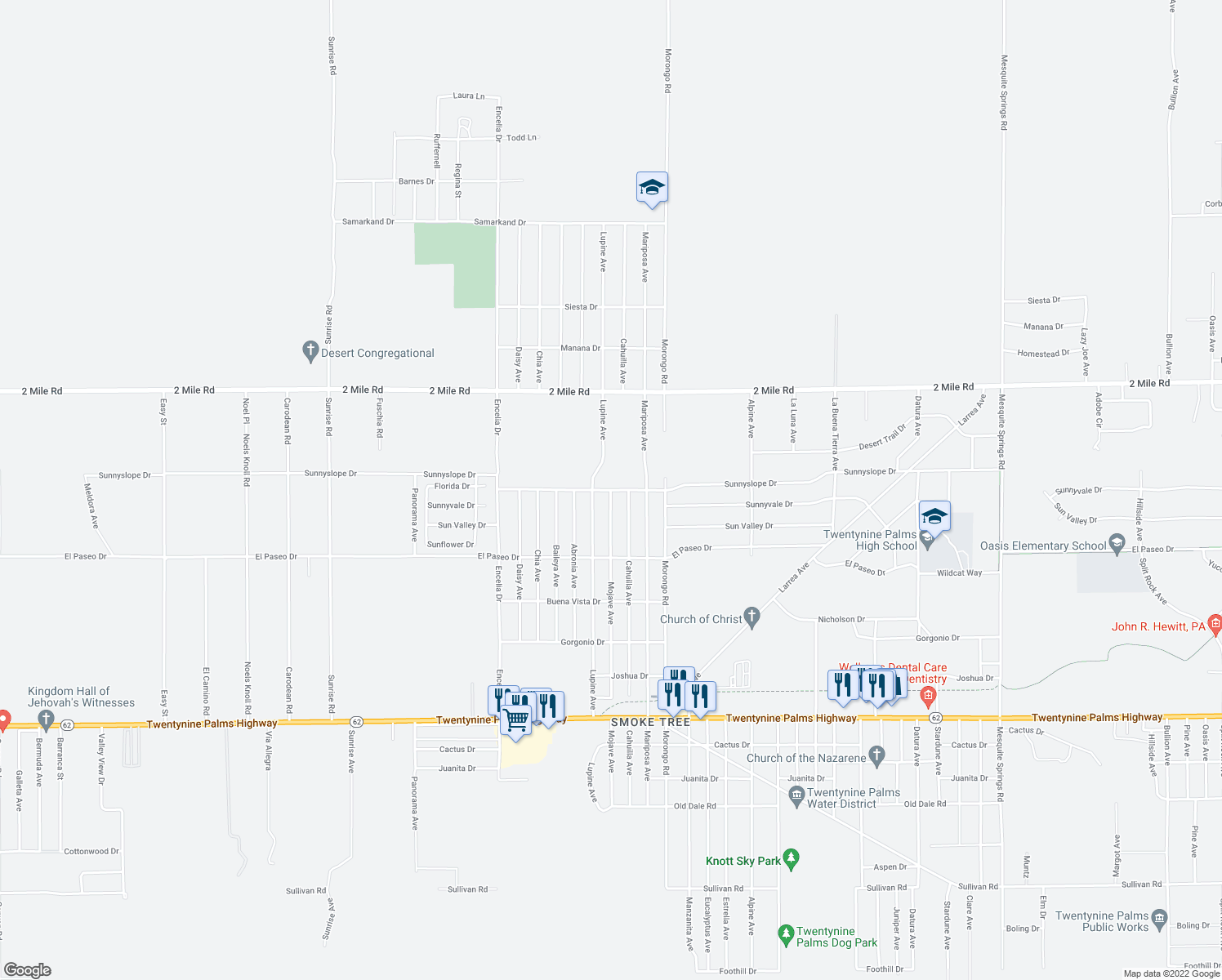 map of restaurants, bars, coffee shops, grocery stores, and more near Sunnyslope Dr & Mojave Ave in Twentynine Palms