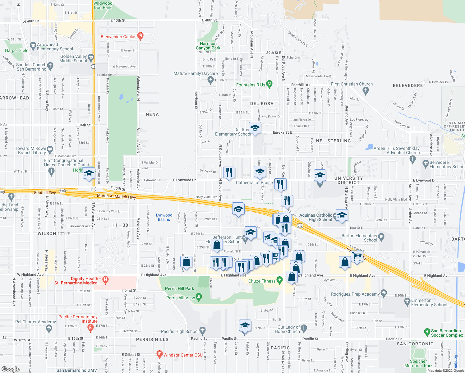 map of restaurants, bars, coffee shops, grocery stores, and more near 1277 East Lynwood Drive in San Bernardino