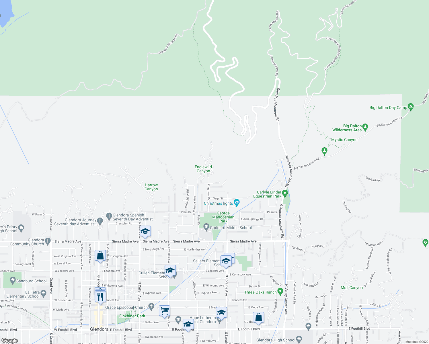 map of restaurants, bars, coffee shops, grocery stores, and more near 1150 Kregmont Dr in Glendora