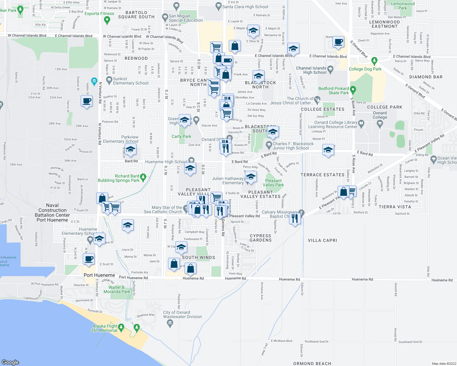 map of restaurants, bars, coffee shops, grocery stores, and more near 172 Fashion Park Place in Oxnard