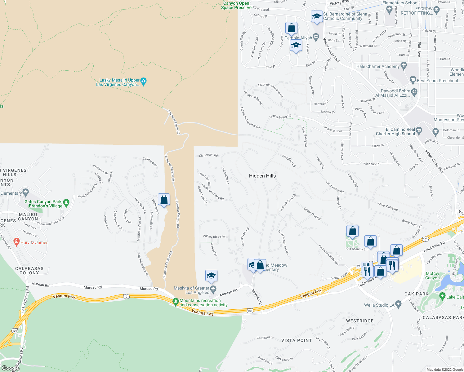 map of restaurants, bars, coffee shops, grocery stores, and more near 5546 Jed Smith Road in Hidden Hills