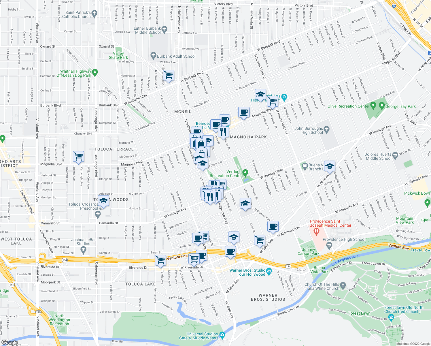 map of restaurants, bars, coffee shops, grocery stores, and more near 600-798 Whitnall Hwy in Burbank