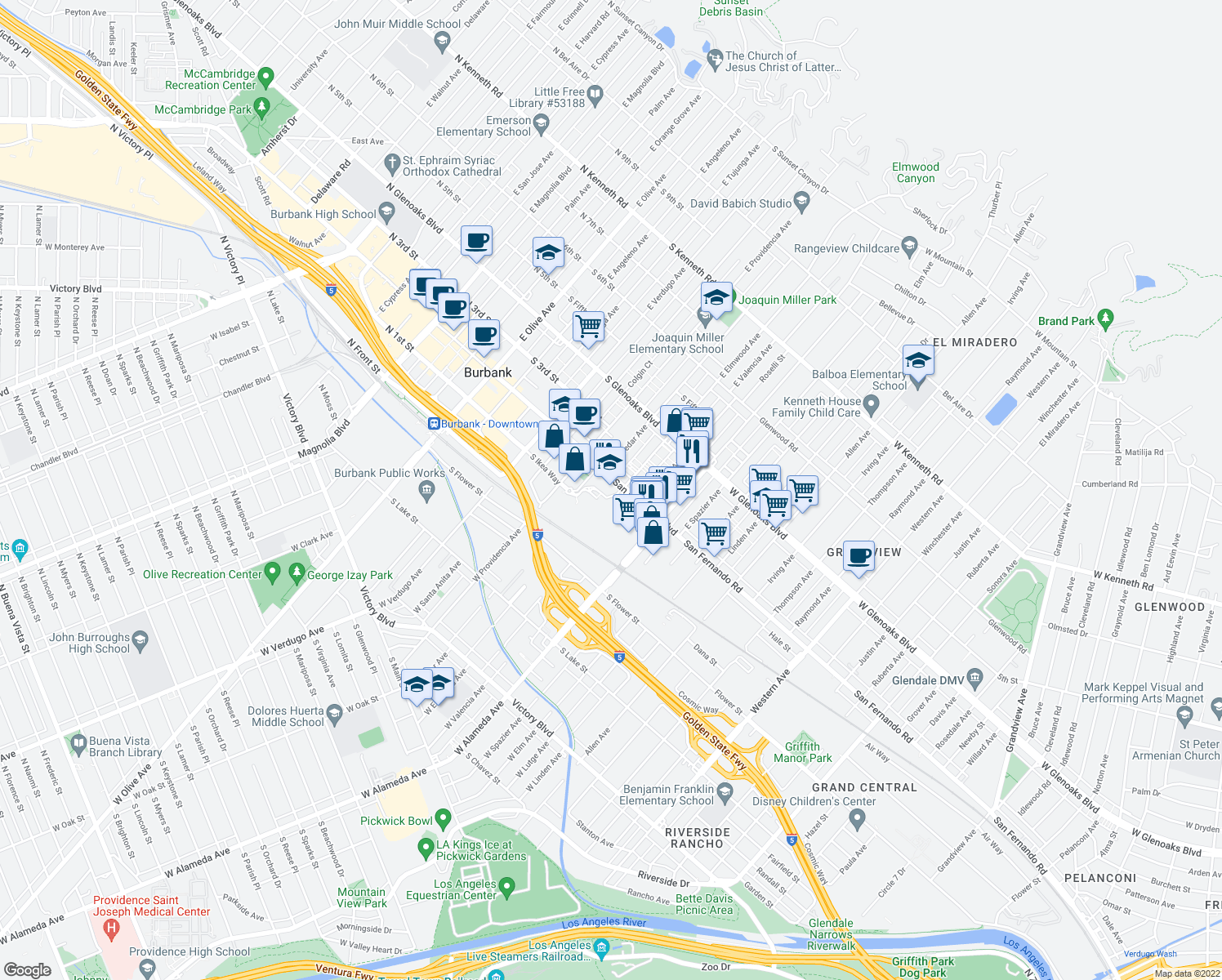 map of restaurants, bars, coffee shops, grocery stores, and more near 750 South San Fernando Boulevard in Burbank