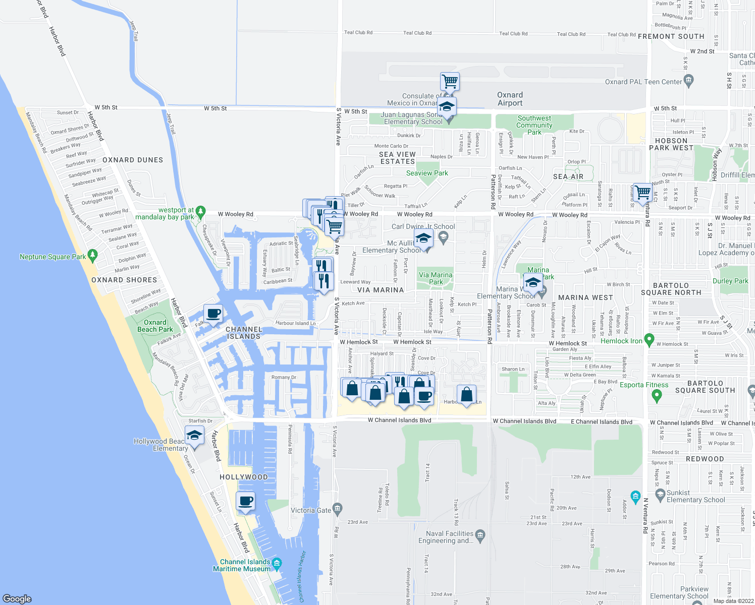 map of restaurants, bars, coffee shops, grocery stores, and more near 1721-1799 Fisher Drive in Oxnard