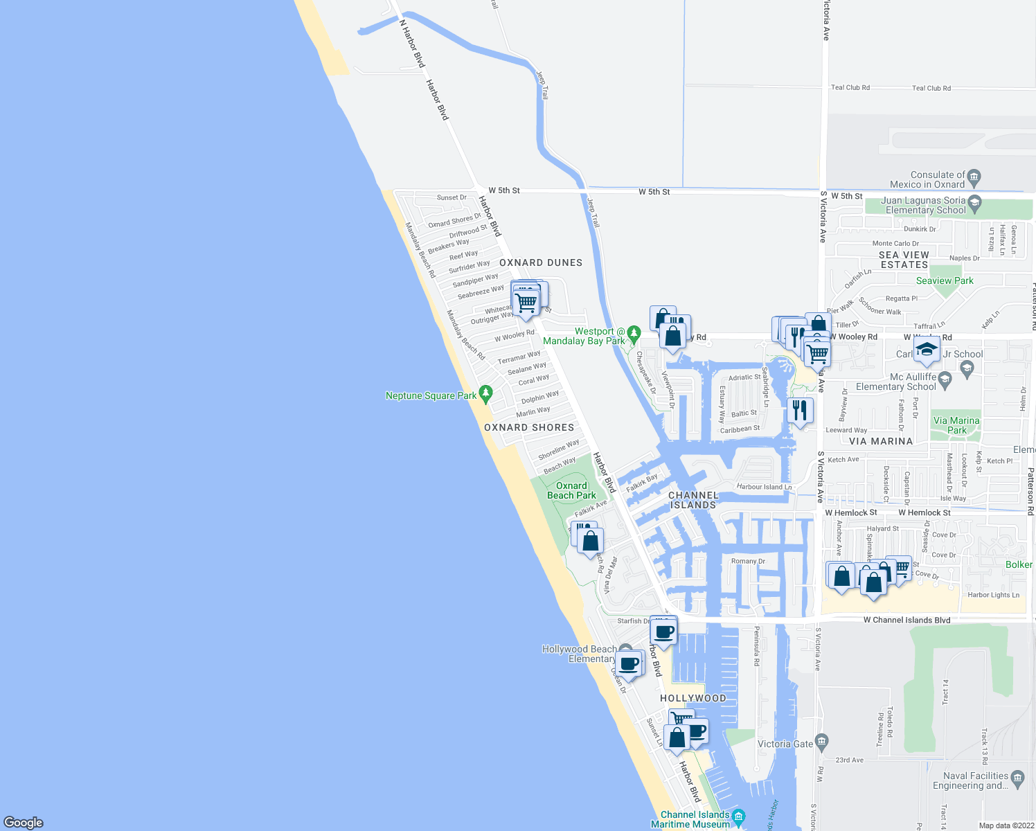 map of restaurants, bars, coffee shops, grocery stores, and more near Mandalay Beach Rd & Marlin Way in Oxnard