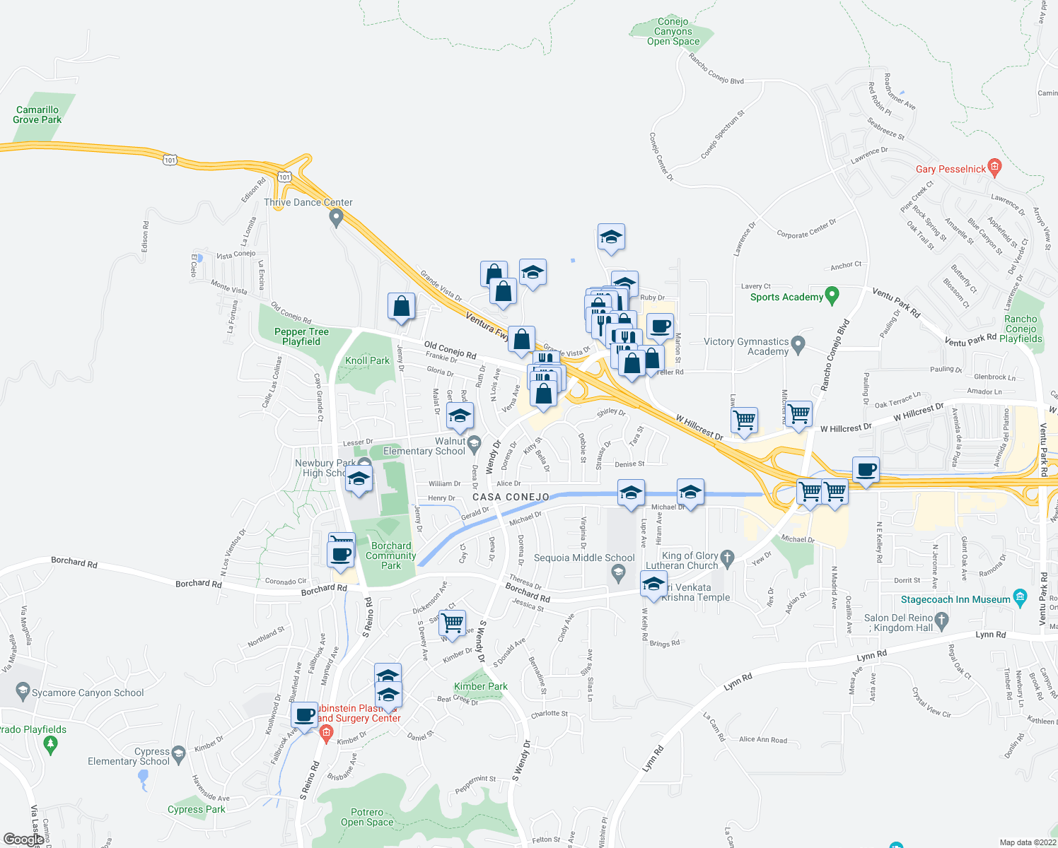 map of restaurants, bars, coffee shops, grocery stores, and more near 700 North Wendy Drive in Thousand Oaks