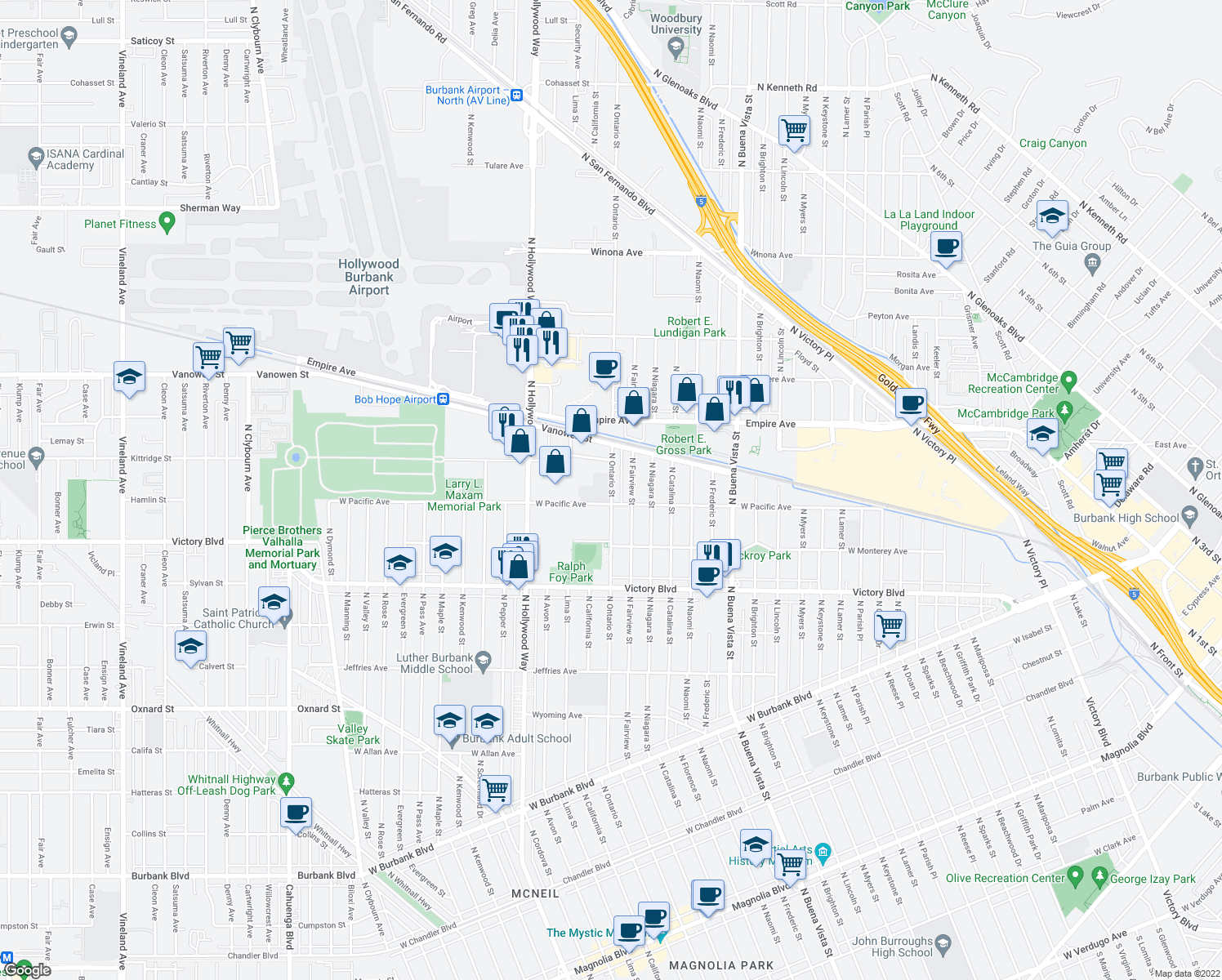 map of restaurants, bars, coffee shops, grocery stores, and more near 1931 North Fairview Street in Burbank
