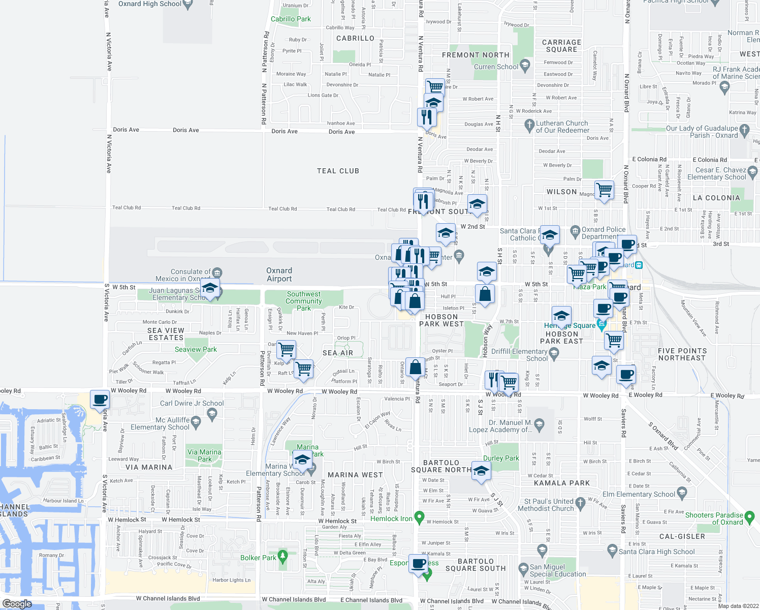 map of restaurants, bars, coffee shops, grocery stores, and more near Mira Loma Cir in Oxnard