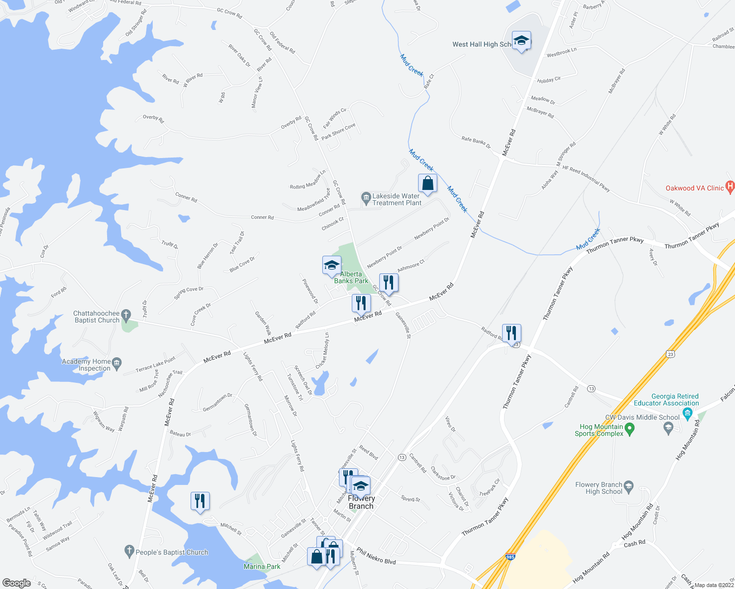 map of restaurants, bars, coffee shops, grocery stores, and more near 5533-5571 Radford Road in Flowery Branch
