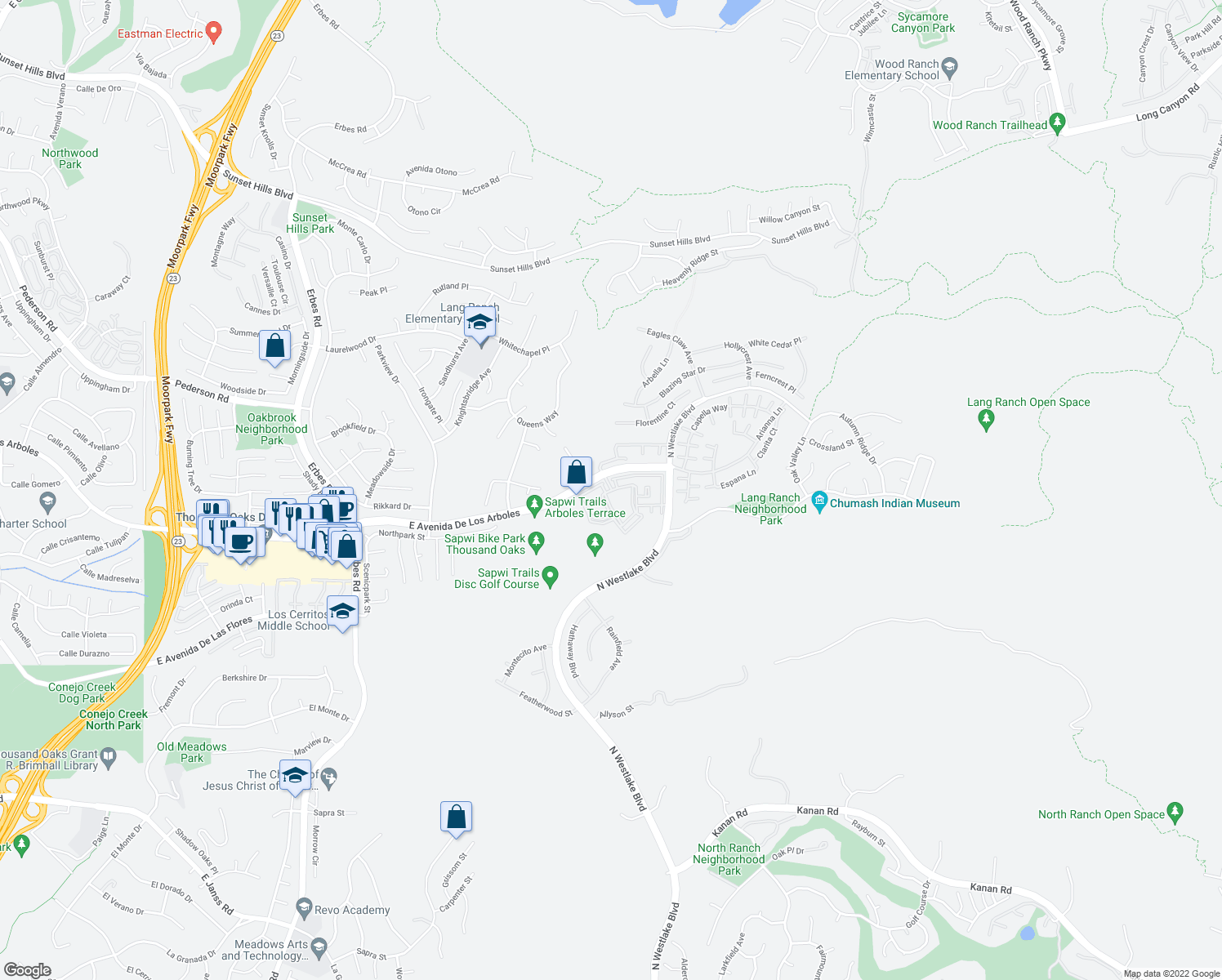 map of restaurants, bars, coffee shops, grocery stores, and more near 2553-2571 Vista Wood Circle in Thousand Oaks