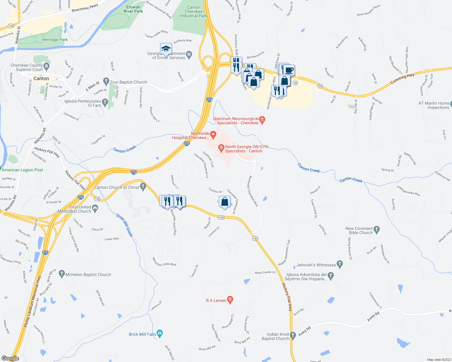 map of restaurants, bars, coffee shops, grocery stores, and more near 3675 Cherokee Overlook Drive in Canton