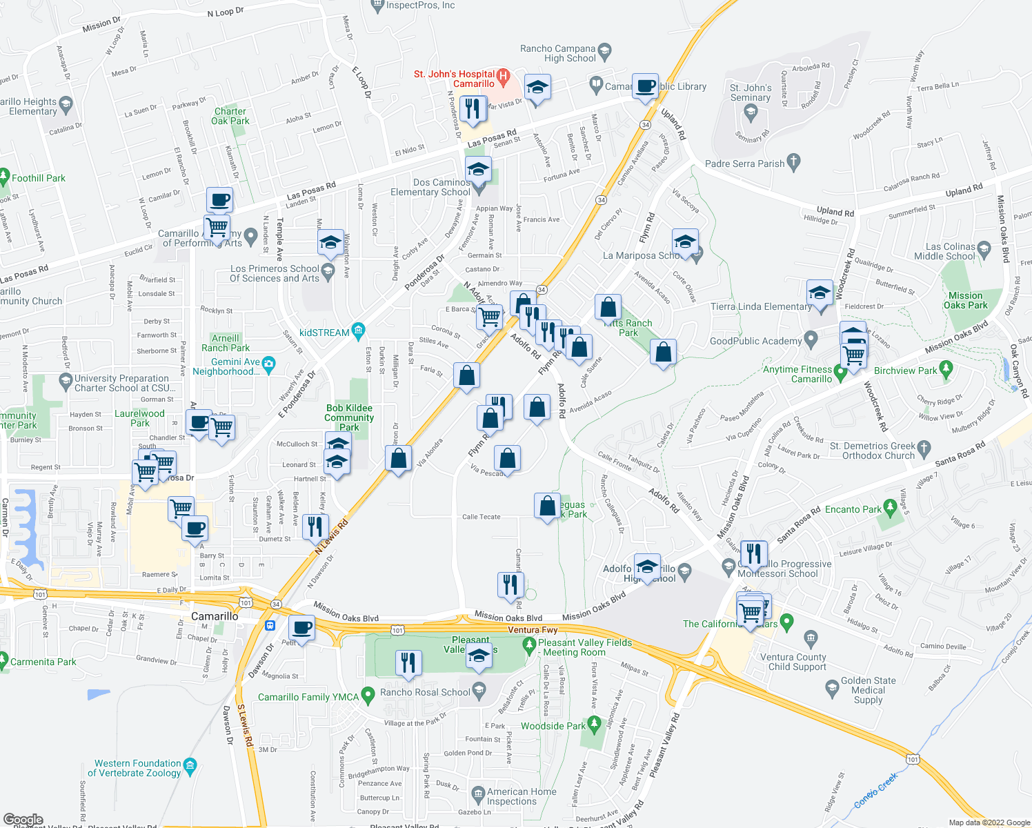 map of restaurants, bars, coffee shops, grocery stores, and more near 941 Avenida Acaso in Camarillo