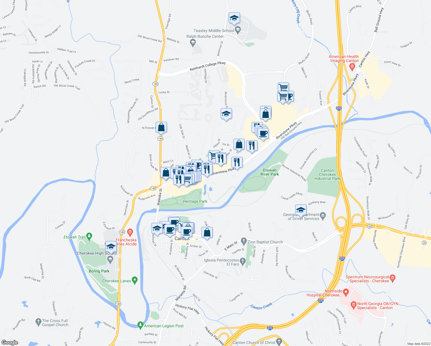 map of restaurants, bars, coffee shops, grocery stores, and more near 345-381 Ball Ground Hwy in Canton