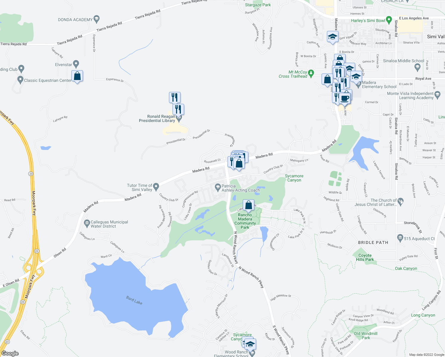 map of restaurants, bars, coffee shops, grocery stores, and more near North Wood Ranch Parkway in Simi Valley