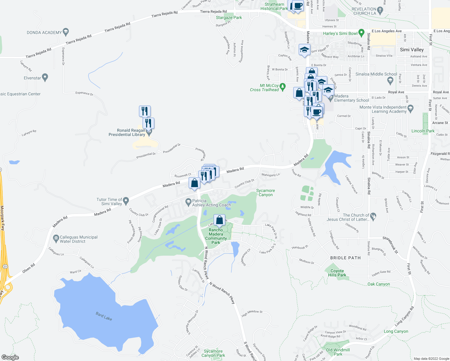 map of restaurants, bars, coffee shops, grocery stores, and more near 397 Country Club Drive in Simi Valley