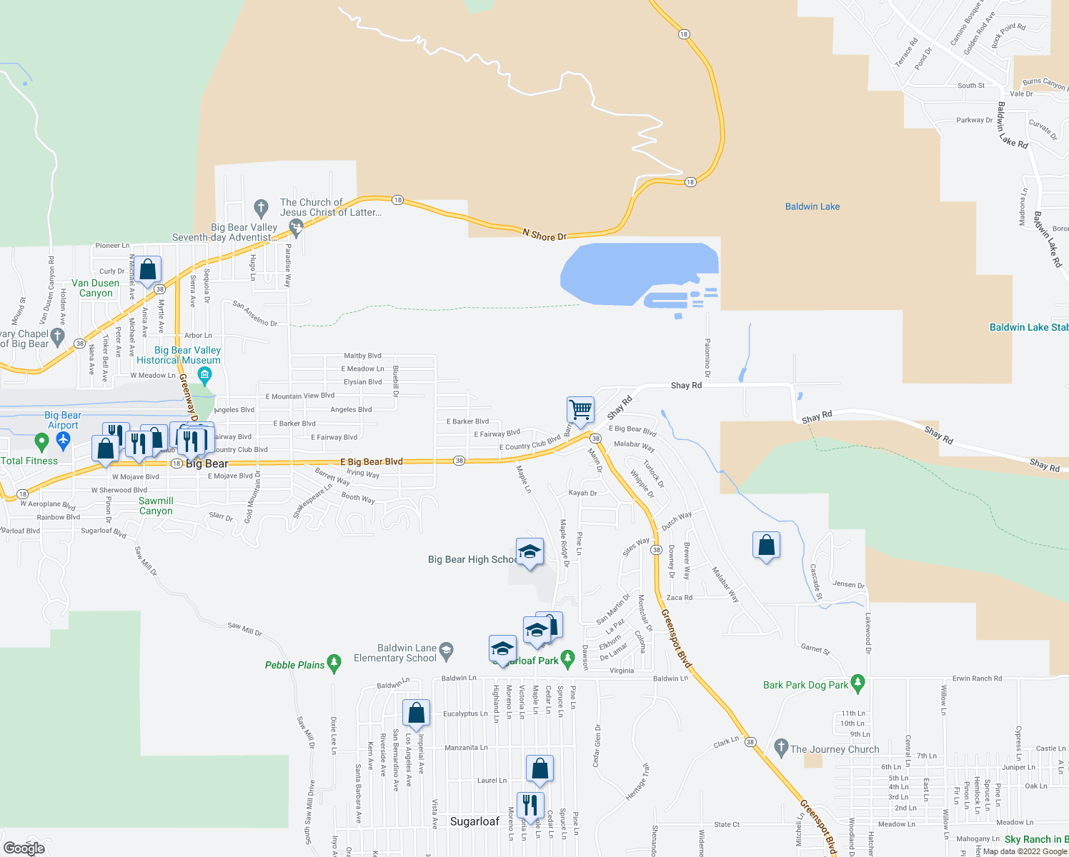 map of restaurants, bars, coffee shops, grocery stores, and more near 1013 E Fairway Blvd in Big Bear City