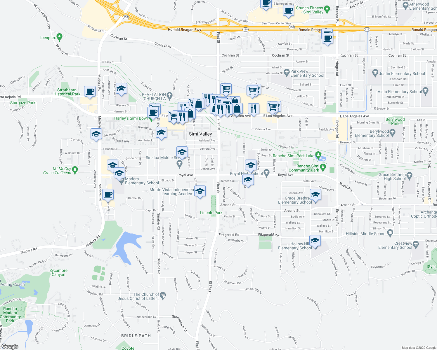 map of restaurants, bars, coffee shops, grocery stores, and more near 1st St & Royal Ave in Simi Valley